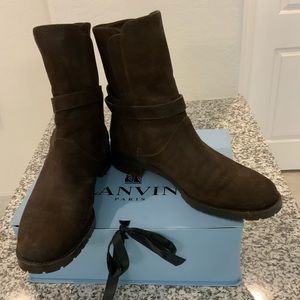 LORO PIANA Brown Suede Wrap Ankle Boots Sz 10.5